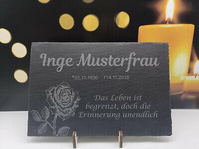 Gedenktafel aus Schiefer Gravur Schild Gedenken Andenken Urne Grab Erinnerung