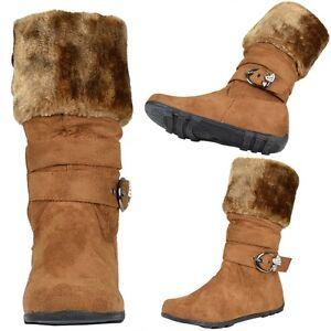 Kids-Girls-Mid-Calf-Boots-w-Faux-Fur-Collar-Rhinestone-Heart-Buckle-Strap-Tan