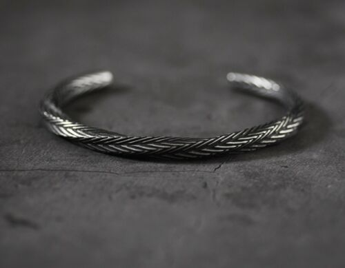 Men/'s Solid Engraved Twisted Stainless Steel Cuff Bangle Jewellery Gift UK