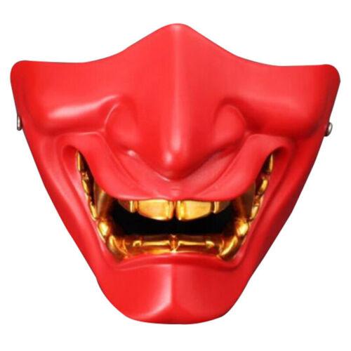 Half Face Cosplay Kabuki Samurai Devil Halloween Party Festival