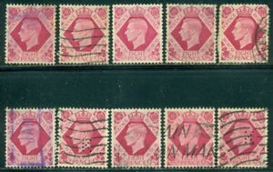 GREAT BRITAIN SG-472, SCOTT # 245, USED, 10 STAMPS, GREAT PRICE!