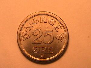 1956-NORWAY-25-Ore-Choice-BU-Lustrous-Twenty-Five-Ore-Norwegian-Norge-Coin