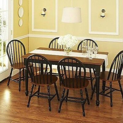 7 Pc Dining Set Dinette Sets 6 Chairs Table Kitchen Room Furniture Chair Black Ebay