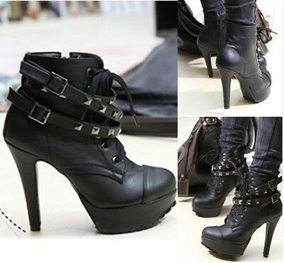 Ladies Faux Leather Lace -Up Buckle Platform studded Shoes High Heel Ankle Boot