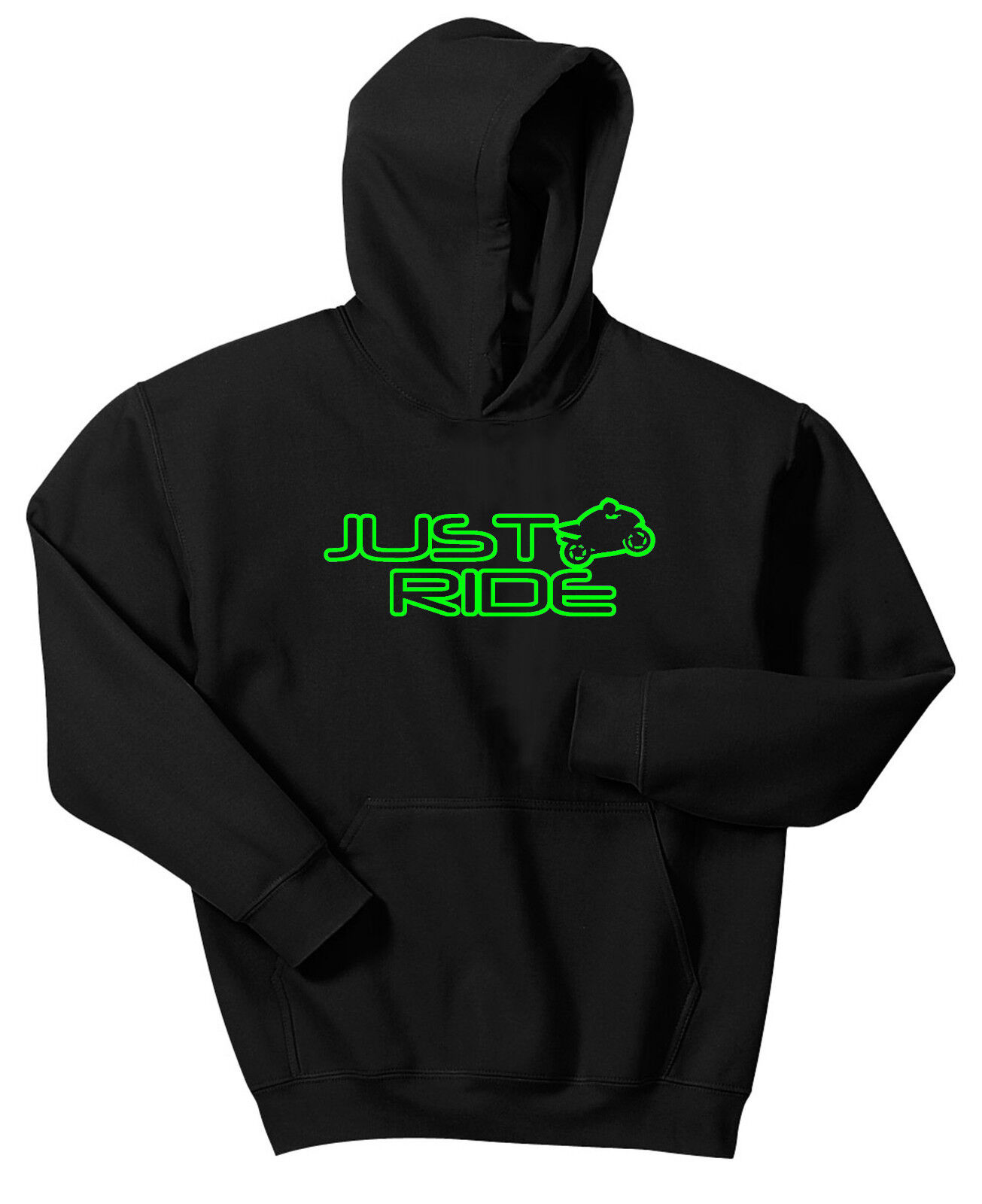 JUST RIDE HOODIE SWEAT SHIRT STREET BIKE ROAD MOTORCYCLE R1 CBR GSXR SUPERBIKE