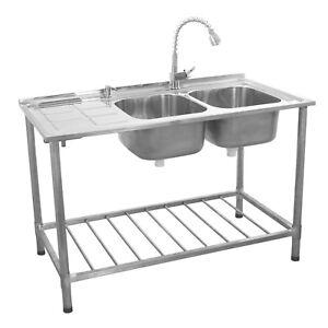 Spueltisch-Gastrospuele-Abwaschbecken-Spuele-Abtropfflaeche-Rechts-Gratis-Wasserhahn