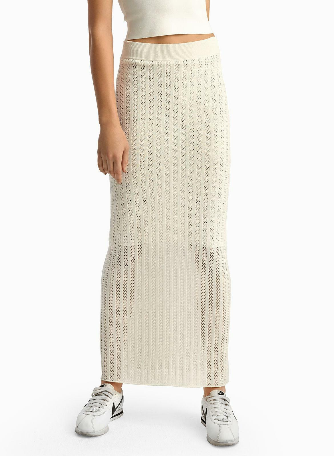 350 Rare Authentic A.L.C. Women's White Mesh Constructed Maxi Skirt