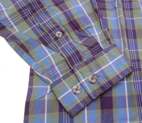 Boston Traders Uomo Camicia Casual a Maniche Lunghe COTONE Blu Verde a Quadretti
