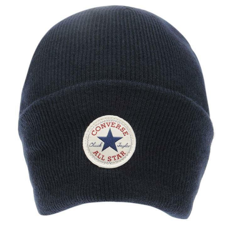 CONVERSE All Star Beanie Umschlagmütze Navy Mütze Strickmütze Wintermütze