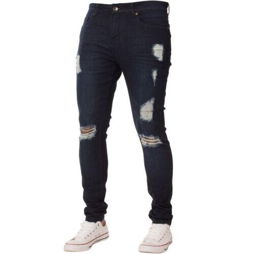Enzo Herren Skinny Zerrissene Jeans Super Stretch Distressed Blau Schwarz Enge