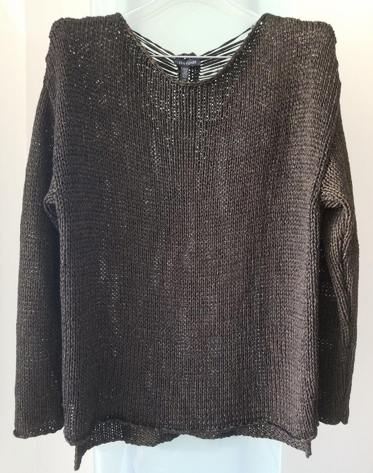 EILEEN FISHER  schwarz Bateau Neck Knit Box Top , Viscose Größe L Retail  NWT
