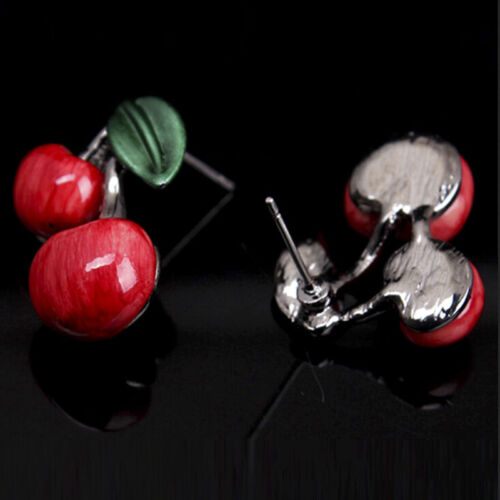 1X Red Cherry Necklace Earrings Jewellery Set Bridal Wedding Accessories BeautyY