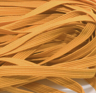 ONE METRE OF SOFT FLAT ELASTIC 6 MM WIDE STRETCHY ORANGE COLOUR