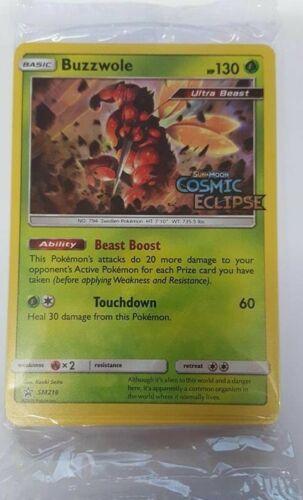 Pokemon Sealed Buzzwole SM218 Black Star Promo Cosmic Eclipse Pre Release Kit