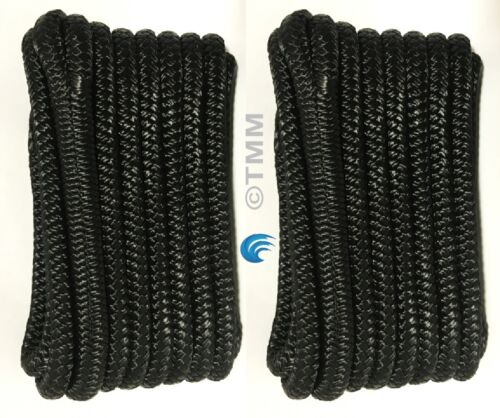 "Black Double Braided 3//8/"" x 15/' ft HQ Boat Marine DOCK LINES Mooring Ropes 2"