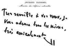 JACQUES DUHAMEL ALORS MINISTRE DES AFFAIRES CULTURELLES