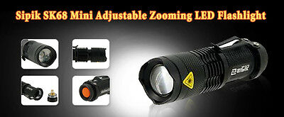 affordable Black Sipik SK68 Mini Adjustable Zooming LED Flashlight