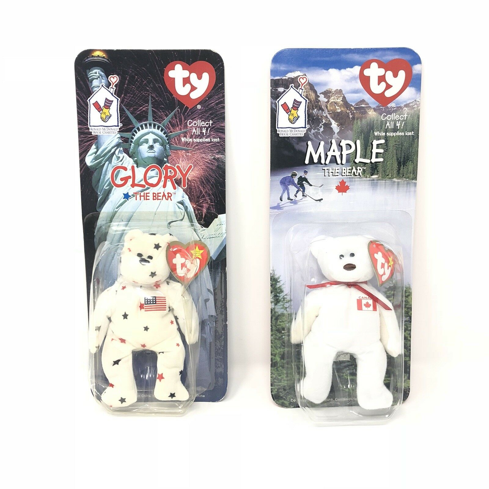 Maple & Glory The Bear McDonalds Ty Beanie Baby with rare errors 1993, OakBrook