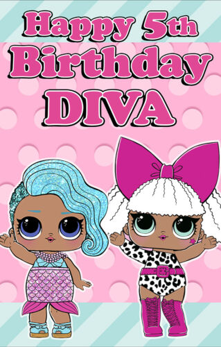 1 x Personalised Lol Birthday Banner Large Door splash Diva
