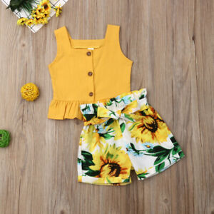 AU-Toddler-Kids-Baby-Girl-Tops-Crop-Sunflower-Short-Pants-Outfits-Clothes-Summer