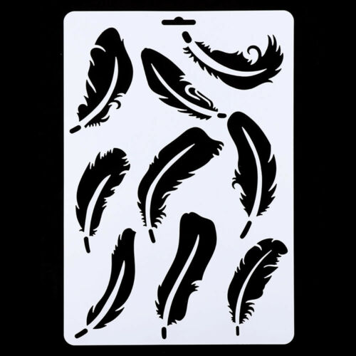DIY Craft Hollow Feather Wall Painting Stencil Drawing Template Card Making Tool