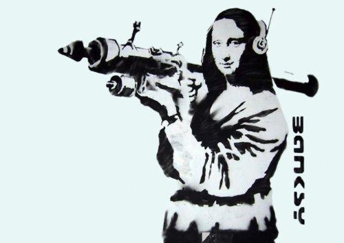Poster Print A4 Banksy Mona Lisa Bazooka *DISCOUNTED OFFERS* A3