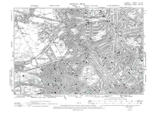 St John/'s Wood Old map Brondesbury Kilburn Kensal etc 1896 London repro 6-NE