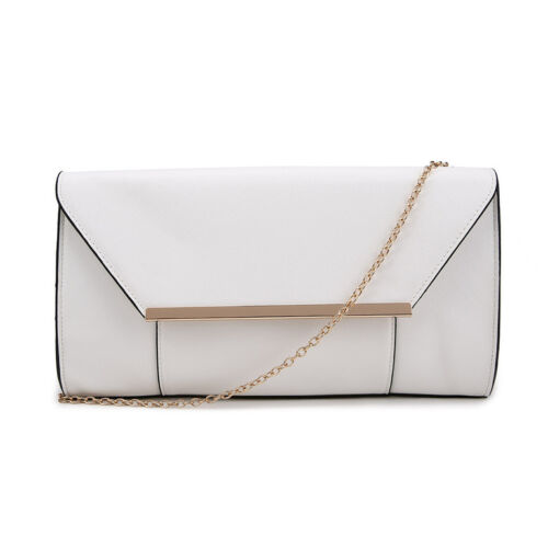 Wedding Prom Faux Leather White Ivory Simple Panel Envelope Evening Clutch Bag