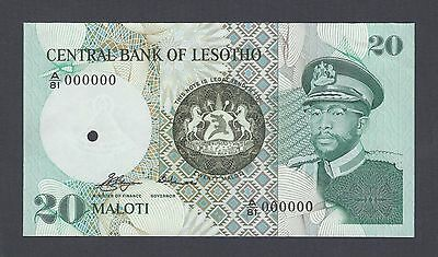 20 Maloti Nd 1981 Tireless Lesotho P7as1 A/81 Specimen Proof Uncirculated