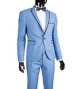 c9dd2ca3eb75 Details zu Slim Fit Herrenanzug in Hellblau Spitzrever  -Smoking-Anzug-Hochzeit-Bühne-Sakko