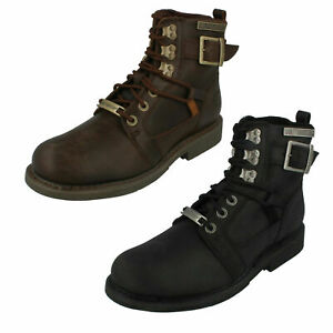 MENS HARLEY DAVIDSON HARRISON D93438 LACE UP CASUAL WINTER BIKER LEATHER BOOTS