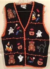 Halloween Sweater Vest L Black Multi Ghost Pumpkin V Neck Orange Crochet Trim