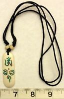 Carved Bone Tibetan Om And Eyes Of Buddha Pendant Necklace Free Shipping In Usa