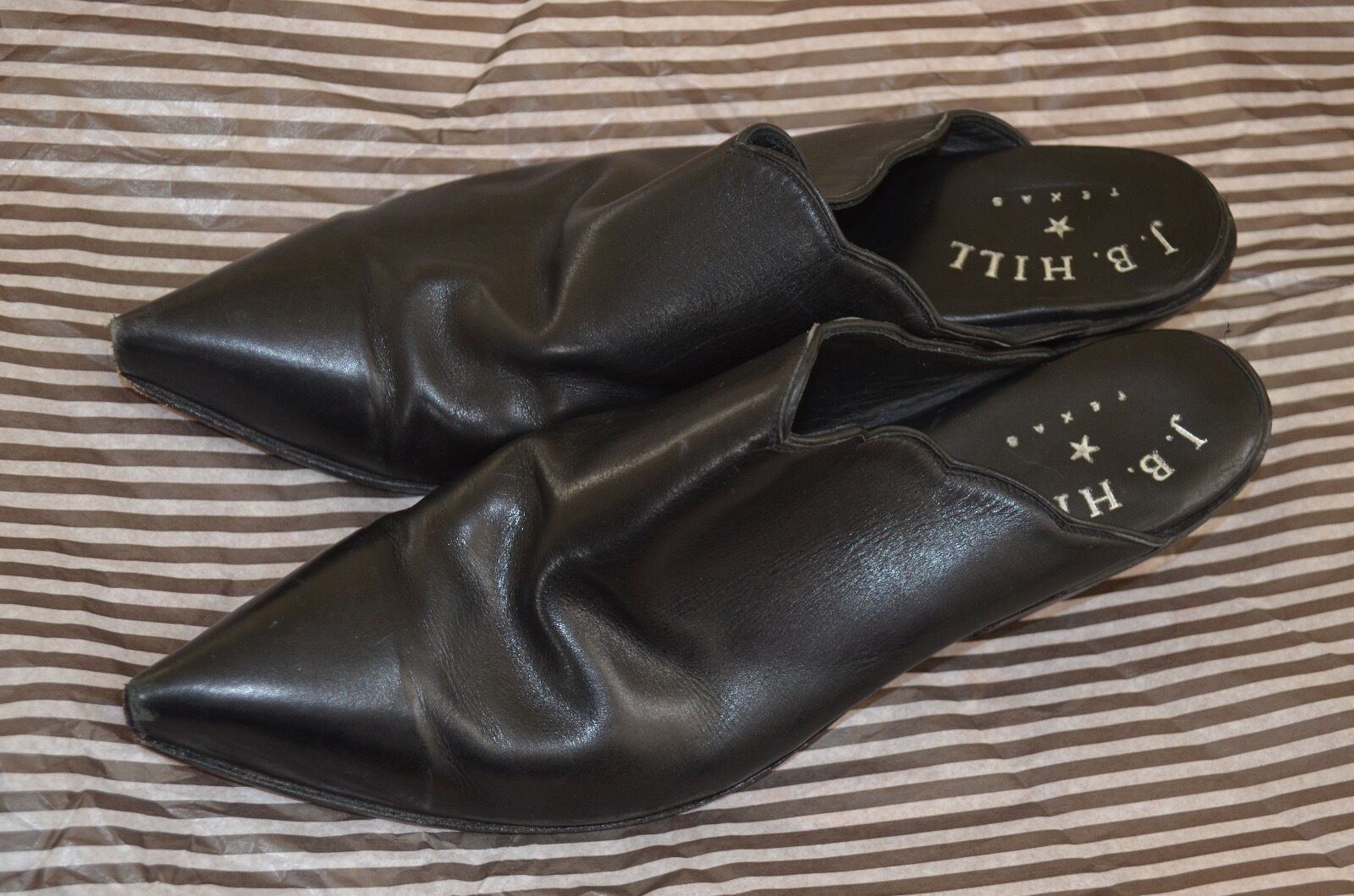 J. B. HILL BLACK LEATHER MULE's are CUSTOM MADE in TEXAS...WOMEN's 9B...