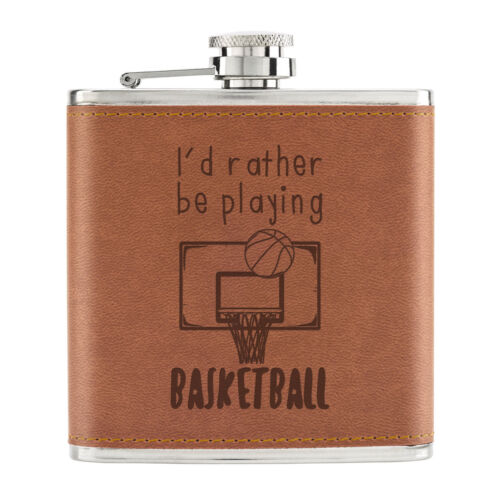 Funny Sport I/'d Rather Be Playing Basketball 6oz PU Leather Hip Flask Tan