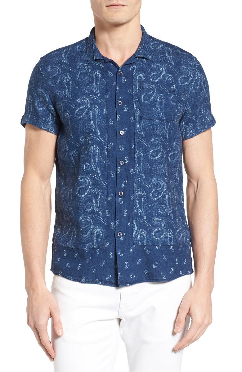 Scotch & Soda Paisley Short Sleeve Slim Fit Button Down Shirt, Size L,MSRP