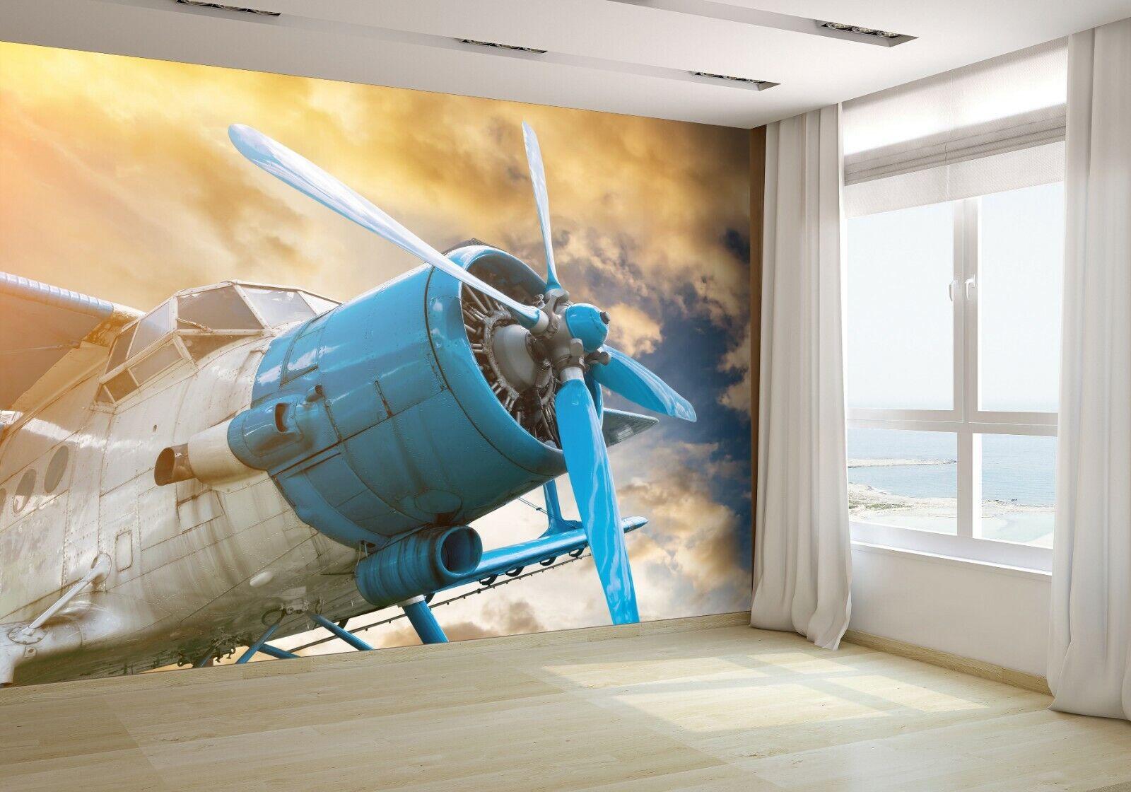 Plane With Propeller Wallpaper Mural Photo 76477212 premium paper