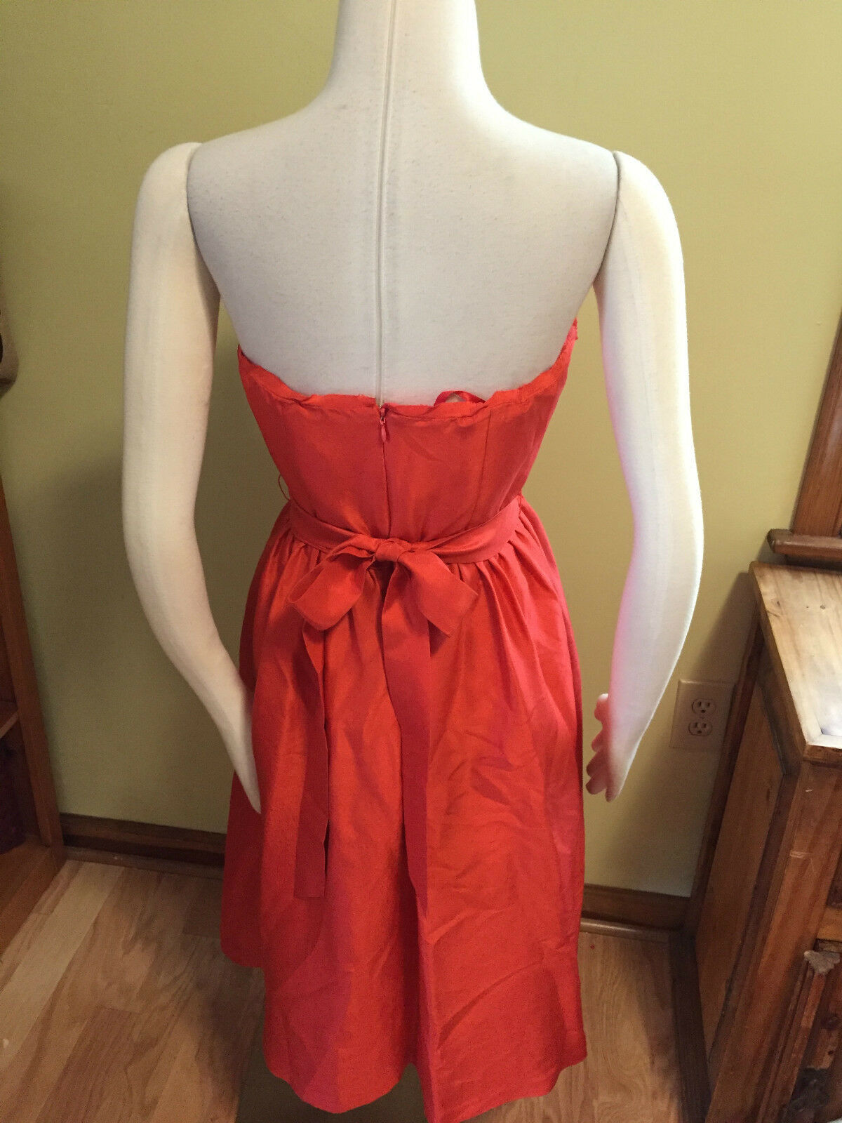 NWOT J. Crew Collection orange Silk Strapless Tie Waist Empire Empire Empire Dress 8 3f5cb4