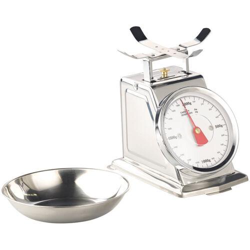 Analoge Retro-Küchenwaage bis 2 kg mit Tara-Funktion Edelstahl