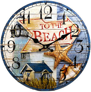 Image Is Loading Wood Wall Clock 034 To The Beach