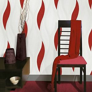 Vague-en-Relief-Texture-Papier-Peint-Rouleaux-Rouge-E62010-Ugepa-Neuf