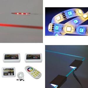 kombi rgb led glaskantenbeleuchtung rgb w led streifen milight steuerung ebay. Black Bedroom Furniture Sets. Home Design Ideas