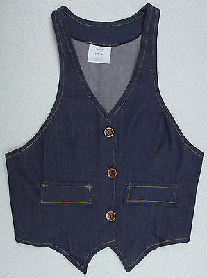 Girls denim waistcoat UNUSED vintage 1960s childrens clothing TEENAGE Age 13 15
