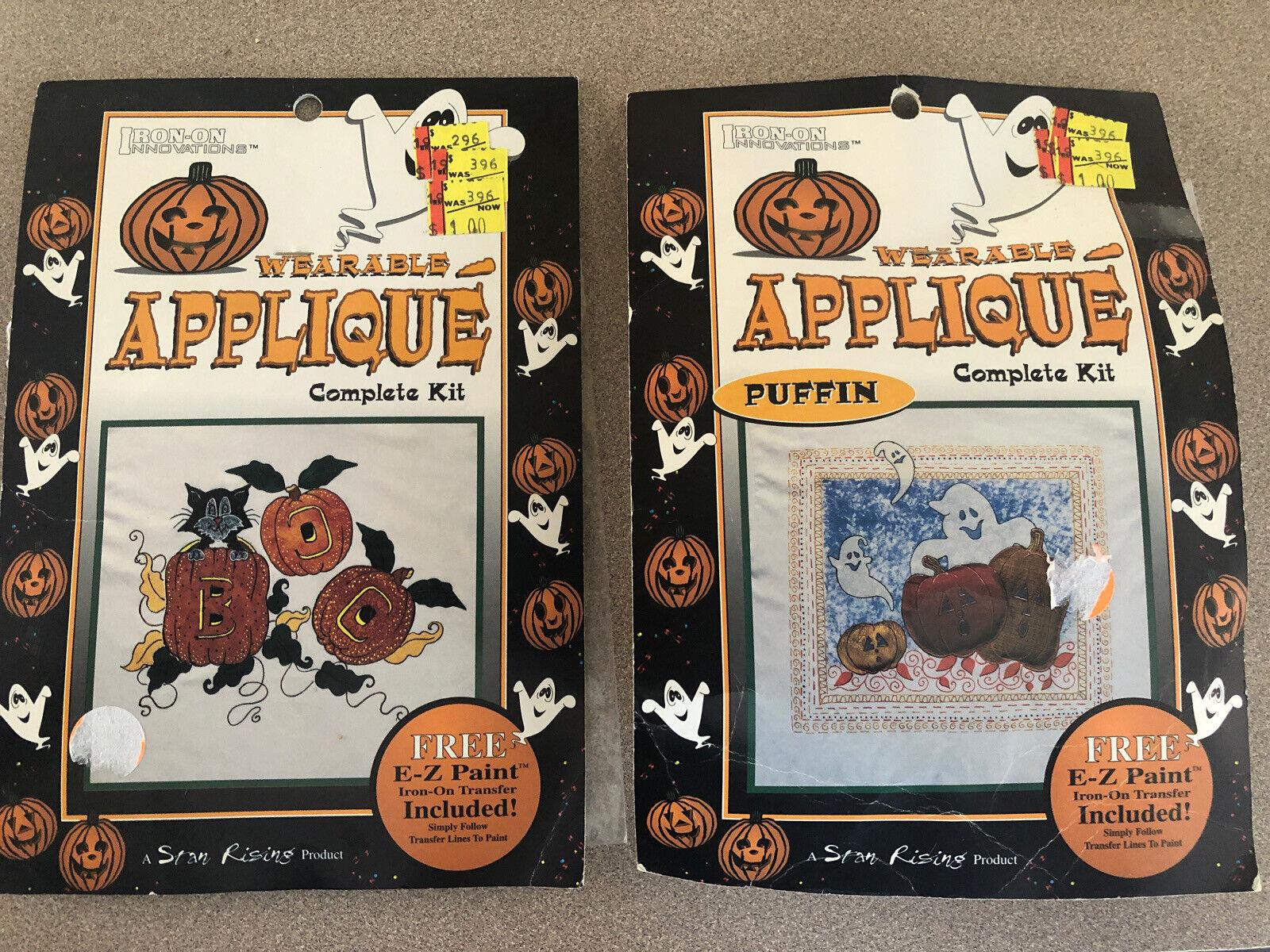 Vintage Iron On Kit Halloween Appliqué Kit Lot Of 2 Pumpkins Puffin Stan Rising