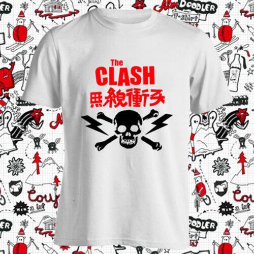 New The Clash Punk Rock Band Skull Logo Men/'s White T-Shirt Size S-3XL