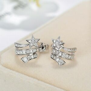 Fashion-Star-Women-925-Silver-Stud-Earrings-Jewelry-Free-Shipping-A-Pair-set