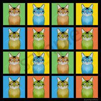 Somali Cat Cartoon Pop-art T-shirt Tee, Men Women's Youth Tank Short Long Sleeve