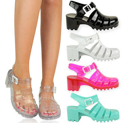LADIES WOMENS SUMMER WEDGES BEACH RETRO BABE JELLY SANDALS FLIP FLOPS SHOES SIZE