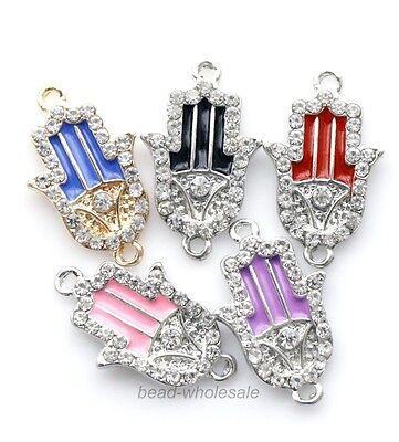 10pcs Fashion Shiny Clear Crystal Rhinestone Paved Hand Palm Connectors Charms