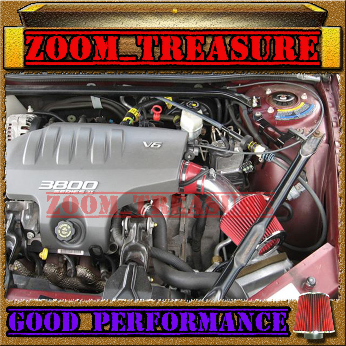 RED 1997-2005 97-05 CHEVY MONTE CARLO PONTIAC GRAND PRIX 3.8L V6 AIR INTAKE KIT
